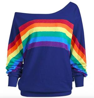 Lenfesh Sudadera de Estampado arcoíris Mujer